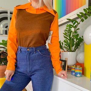 Deadstock 70s collar block dagger collar blouse